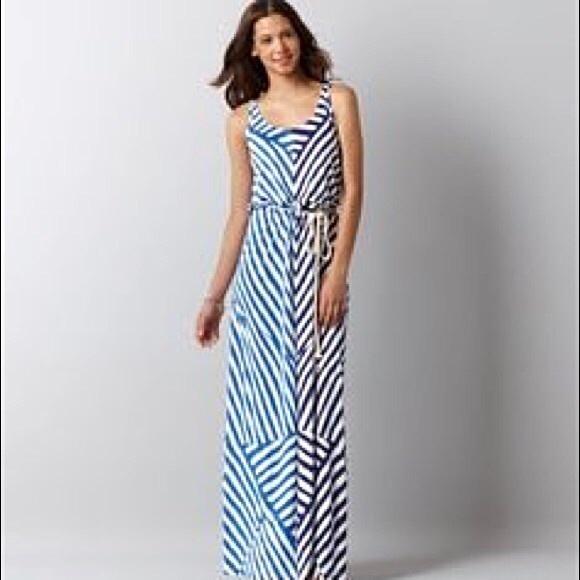 Loft maxi dress blue and beige
